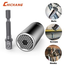 Universal Socket Gator grip Socket Wrench Set with Power Drill Adapter Chrom-Vanadium Steel from 7mm to 19mm Self-adjusting Tool