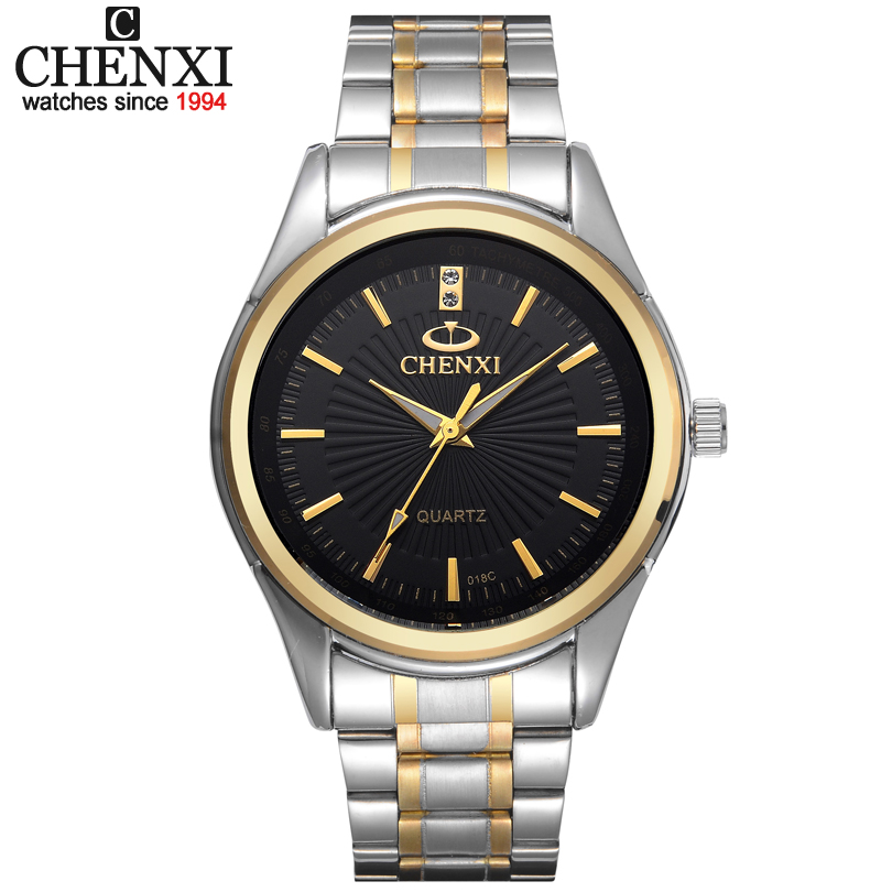 New arrival ChenXI Brand Fashion Gold Strap Men's Women Business Quartz Watches Dress Stainless Full Steel sport wristwatch