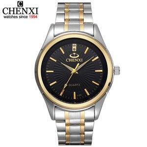 Nova chegada chenxi marca moda pulseira de ouro das mulheres dos homens negócios relógios de quartzo vestido aço inoxidável completo esporte relógio pulso