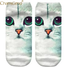 Chamsgend Socks Newly Design Women Girls 3D Big Eyes Cat Print Low Cut Sneakers Short Socks 80307(China)