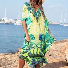 Plus Size Kaftan Beach Tunic Women Summer Beachwear Swimsuit Cover Up Ladies Bohemian Dress Robe de plage sarongs pareo