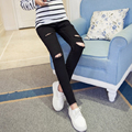 2016 autumn spring Maternity skinny Jeans clothes for pregnant  women adjustable belly pregnant cropped pants  hole pants M513