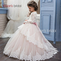 Manga longa Da Menina de Flor Vestidos para Casamentos Lace Primeira Comunhão Vestidos para Meninas Vestidos Pageant Branco Marfim