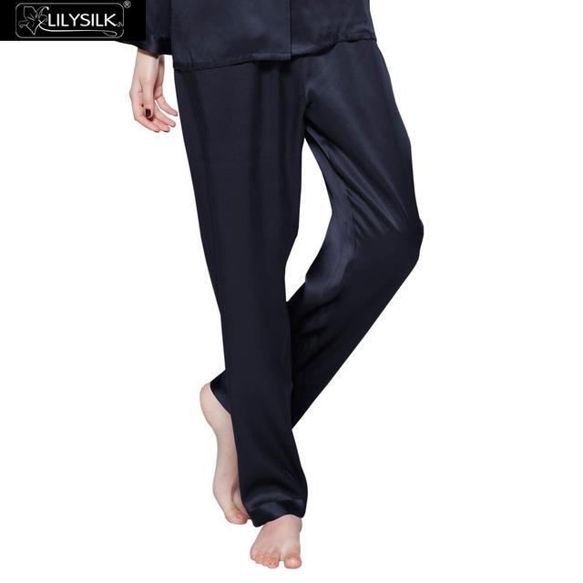 Sólido 22 Momme Lilysilk 100% Pantalones de Pijama de Las Mujeres de Seda Pura Pantalones de Cintura Elástica de Lujo Largo Sueño de Primavera Envío Gratis