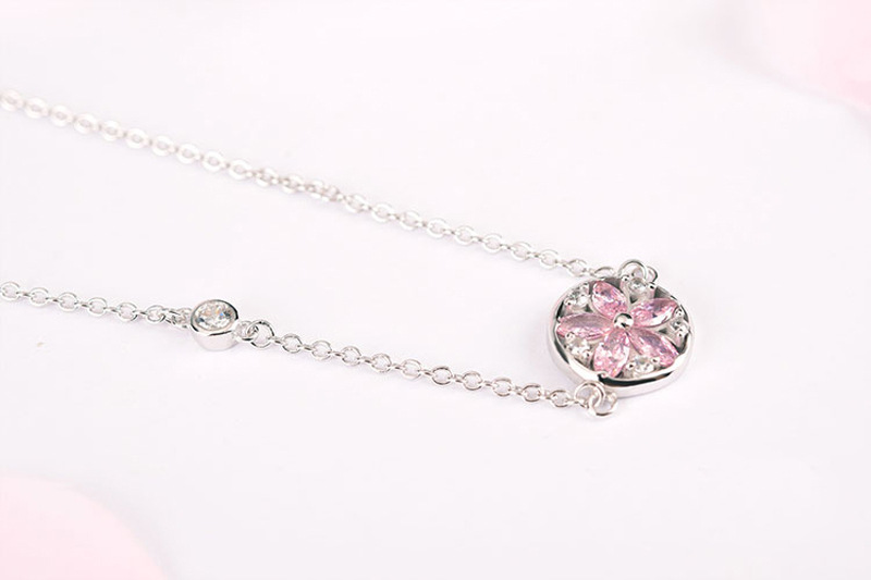 Silver Cherry Blossom Bracelet With Zircon Sakura Bangle Women 925 Sterling Jewelry 10