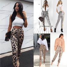 цена на Women's High Waist Casual Leopard Print Pants Drawstring Elastic Long Slim Fit Pants Sexy Ladies Pencil Trousers