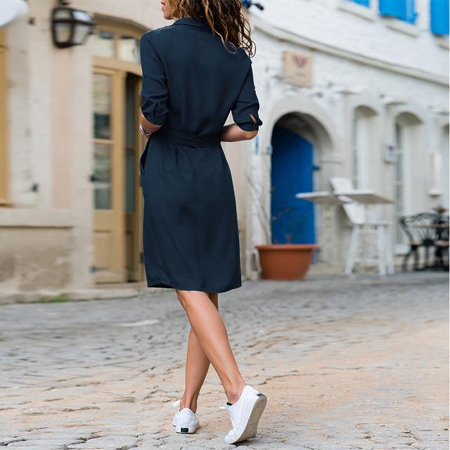 Casual Straight Summer Knee-Length Shirt Dress for Women