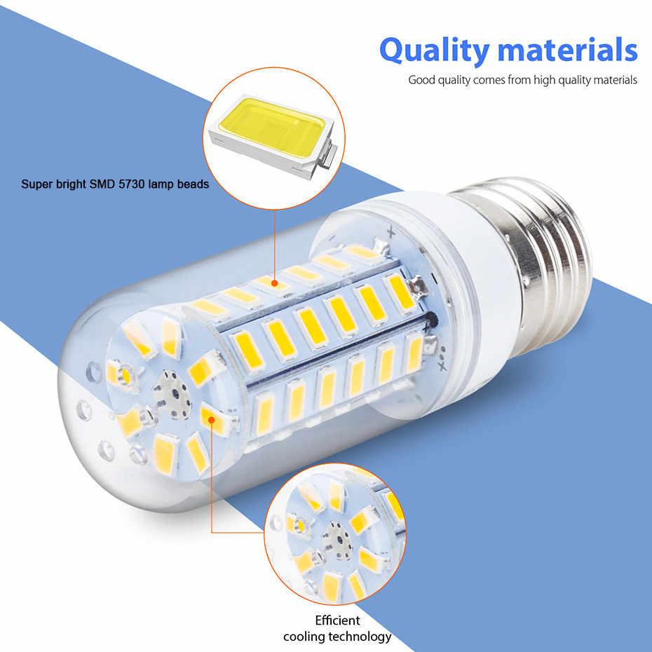 E27 led ランプ 220 12v smd 5730 E14 led ライト 24 36 48 56 69 72 led トウモロコシ電球シャンデリア家庭用照明 led 電球