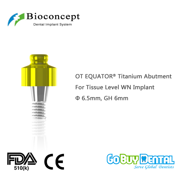 OT EQUATOR Titanium Abutment, D6.5mm, GH 6mm, for Straumann Tissue Level WN Implant(034260-1) ot equator titanium abutment d4 1mm gh 6mm for staumann bone level rc implant