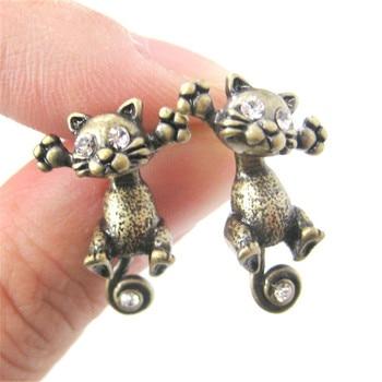 CHENGXUN New Fashion Cute Cat Stud Earrings Set For Women Girls For Children Baby Kids Animal Jewelry brincos feminino 1