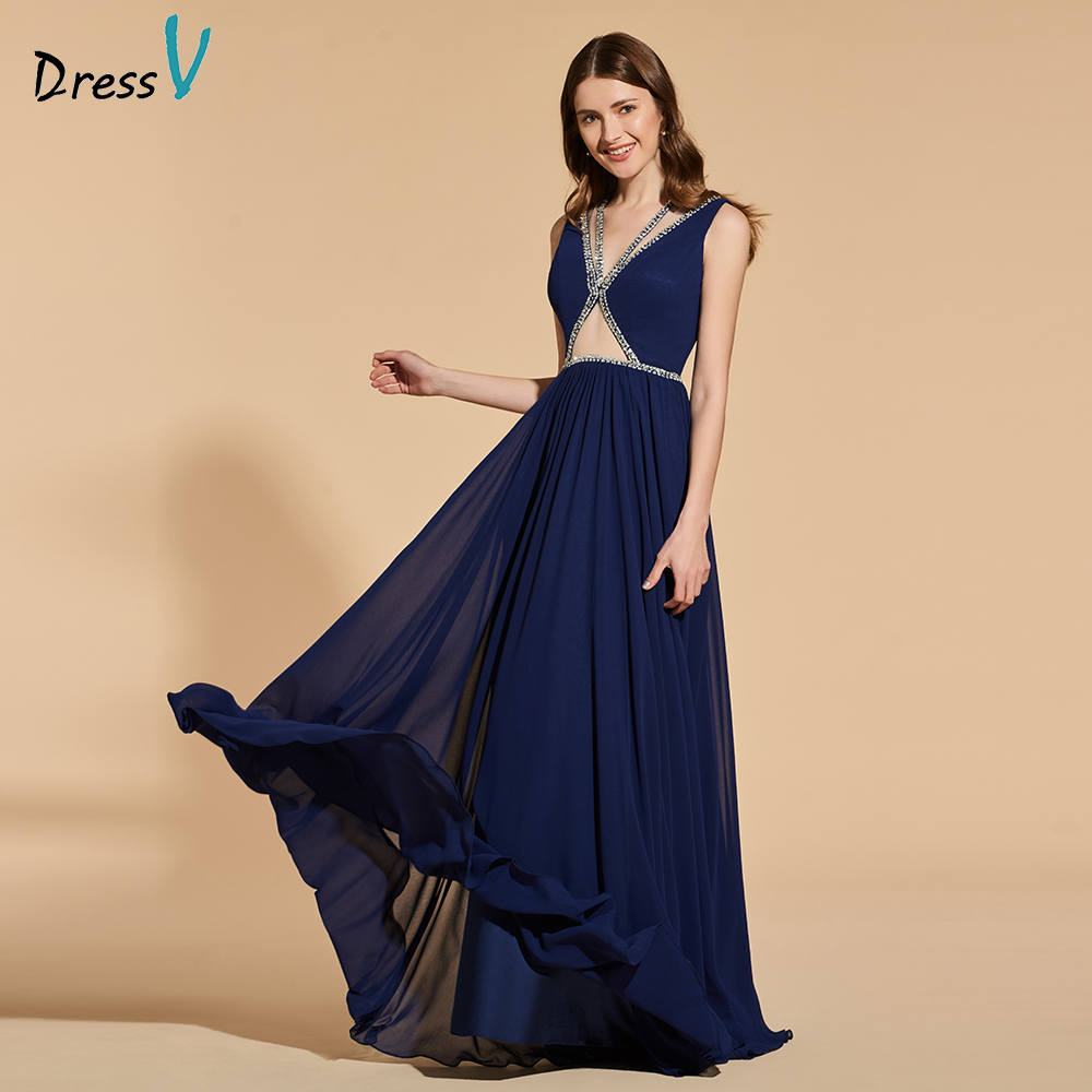 Dressv blue long   prom     dress   sleeveless simple a-line beading v neck floor length evening party gown   prom     dresses   customize
