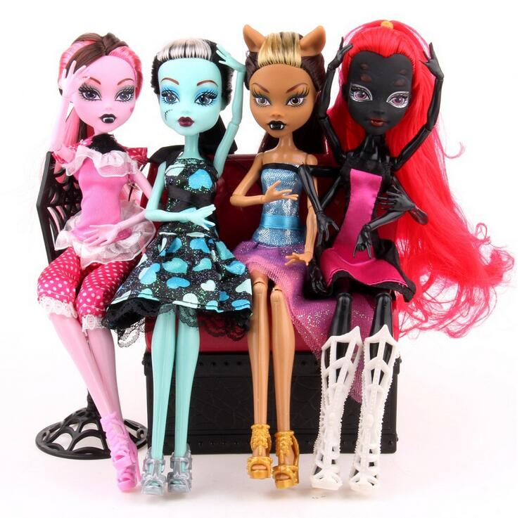 High Quality Fasion Monster Dolls Draculaura/Clawdeen Wolf/ Frankie Stein / Black WYDOWNA Spider Moveable Body Girls Toys Gift new original body for monster dolls best gift toys to child many styles to choose monster dolls only the body free shipping