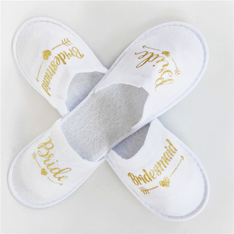 1 Pair Bride Shower Disposable Wedding Decoration Bridesmaid Bride Soft Slippers Hen Night Single Party Supplies Like Gift-C