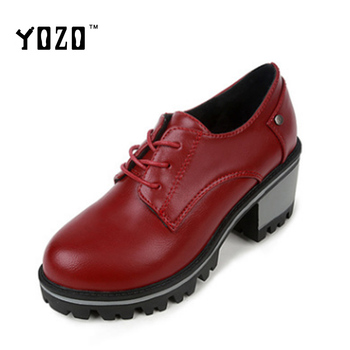 YOZO Women's Retro Oxfords Genuine Leather Mid Heel Design
