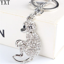 Silver Monkey Pendant Charm Rhinestone Crystal Purse Bag Keyring Key Chain Accessories Wedding Party Lover Gift