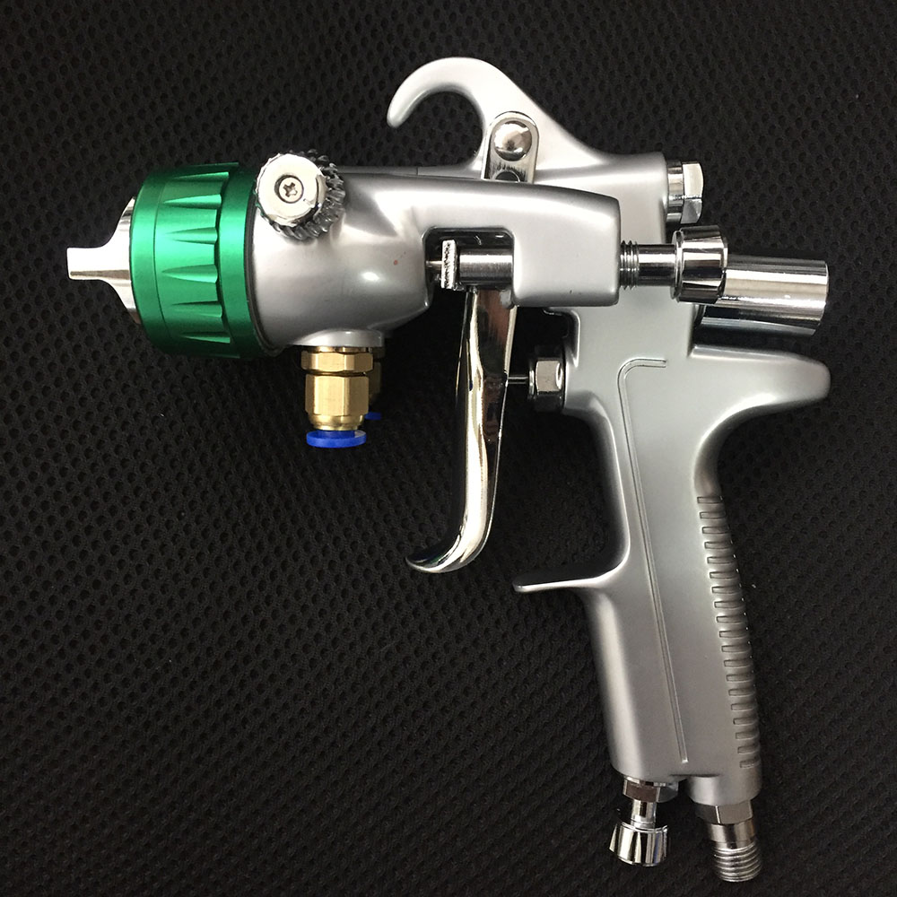 цена на SAT1189 double nozzle pneumatic wall paint sprayer air paint gun high pressure feed atomizing gun pneumatic chrome spray gun