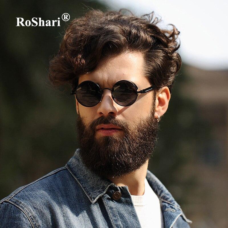 RoShari Vintage heren Steampunk gepolariseerde zonnebril dames merk designer Black Ronde zonnebril voor heren lunette de soleil A5
