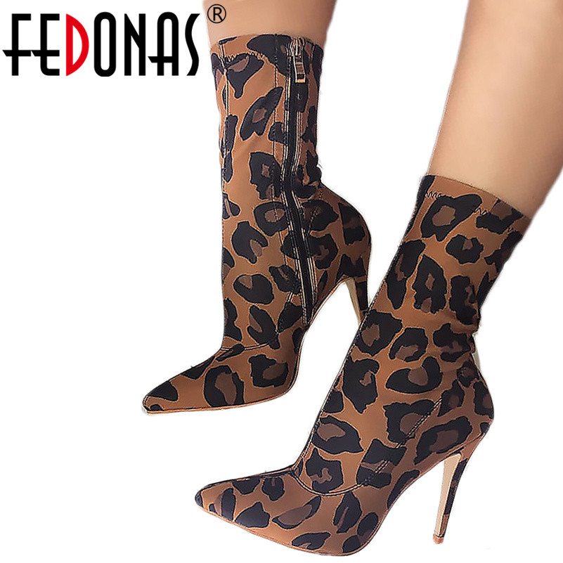 FEDONAS Fashion Sexy Women Thin High Heels Party Wedding Shoes Woman Pointed Toe Leopard Stretch Fabric Mid-calf Boots FEDONAS Fashion Sexy Women Thin High Heels Party Wedding Shoes Woman Pointed Toe Leopard Stretch Fabric Mid-calf Boots