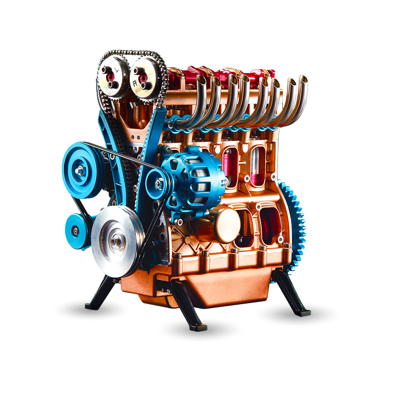Four Cylinder Inline Non-Stirling Model Can Start Metal Drum To Produce Daily Necessities Steam Engines Education