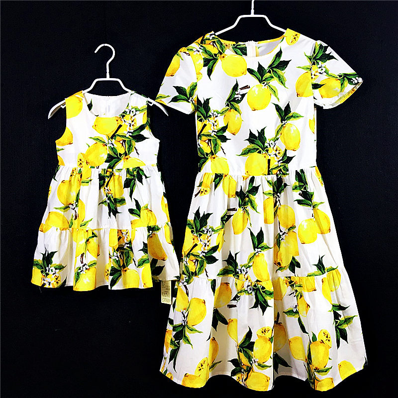 Brand cotton women pleats lemon print dress family look clothes kids girl holiday Summer dress mother and daughter beach dresses