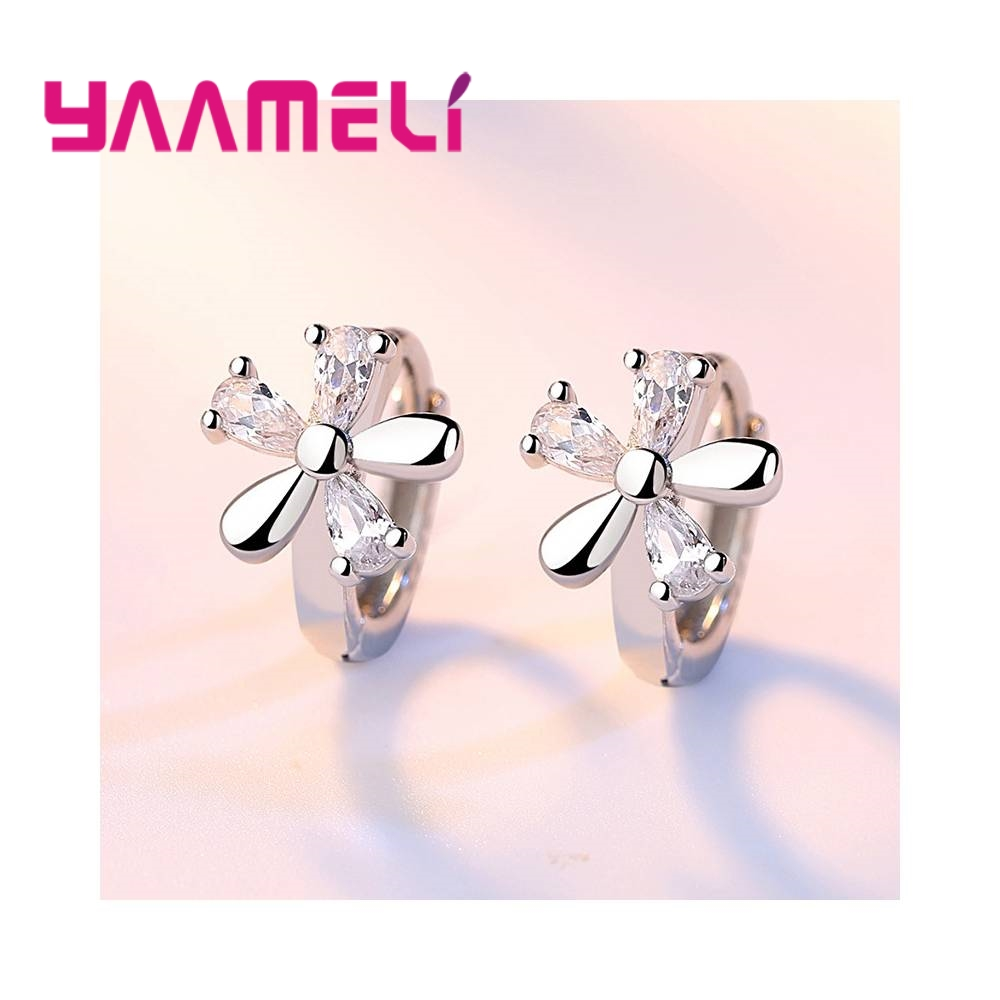 Beautiful Flowers Composition Cubic Zirconia Girls Women Gift Good Quality 925 Sterling Silver Stud Earrings Jewelry 1