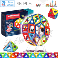 46pcs Creator Carnival Set Standard Size Magnetic Model Building Blocks Plastic Magnets Designer Enlighten 3D Brain