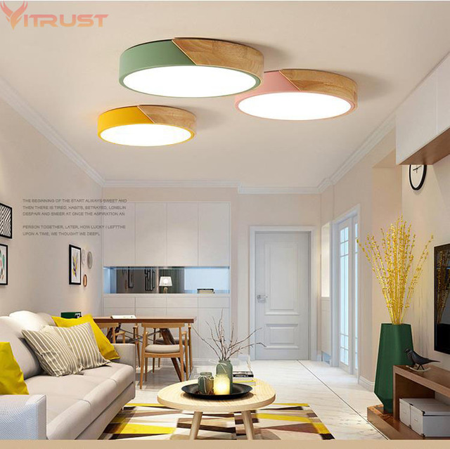 Vitrust Nordic Ceiling Lights Lamps Wooden Home Lighting Fixture Bedroom Dining  Room Kids Room Remote Control