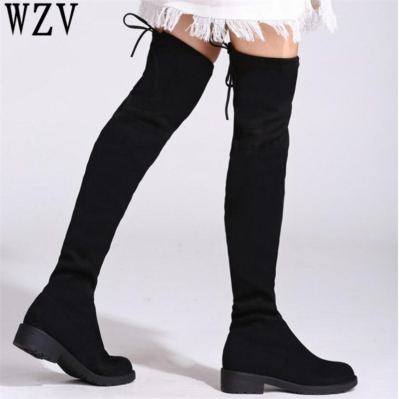 цена 2018 Thigh High Boots Female Winter Boots Women Over the Knee Boots low heel Stretch boots Sexy Fashion Lace-up women shoes E387