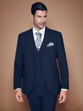 Fashion Style One Button Navy Blue Groom Tuxedos Groomsmen Men's Wedding Prom Suits Bridegroom (Jacket+Pants+Vest+Tie) K:980