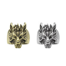 Punk Animal Ring Men Steampunk Dragon Bronze Silver Ring Vintage Jewelry Wolf Heads Cocktail Party Rings Gifts Drop Shipping(China)