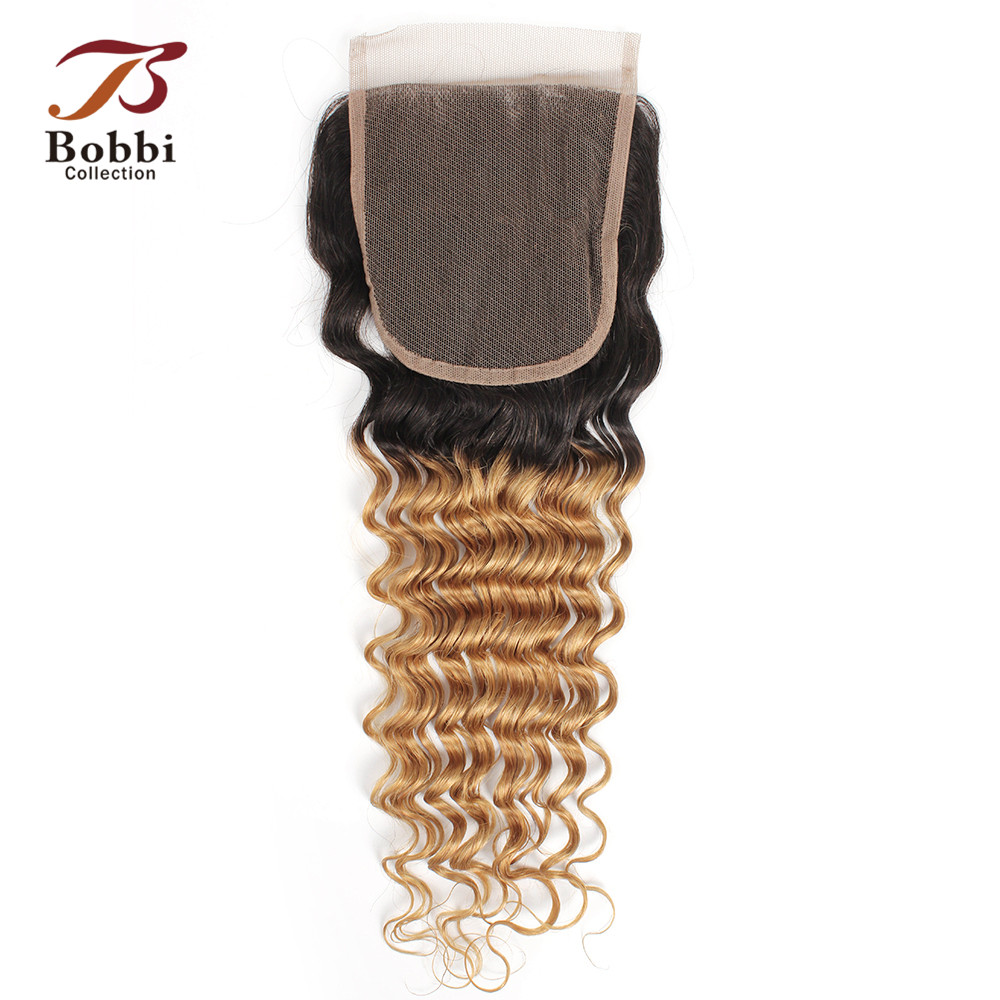 Bobbi Collection T 1B 27 Lace Closure Ombre Honey Blonde Dark Brown Color 2 Color 4 Deep Wave Brazilian Non Remy Human Hair