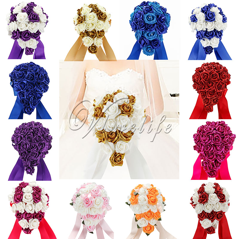 Online Shop Artificial Flower Wedding Bouquet Crystal Decoration ...