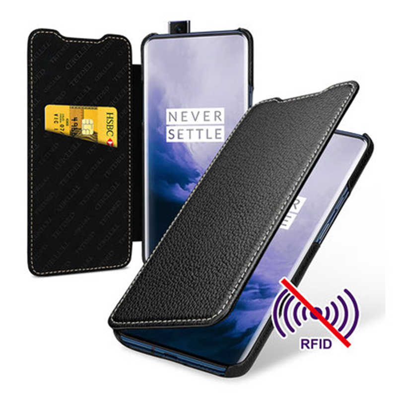 Mode portefeuille housse pour Oneplus 7 affaires Flip Shell téléphone sac pour Oneplus 7 Pro 1 + 7 en cuir véritable peau Fundas