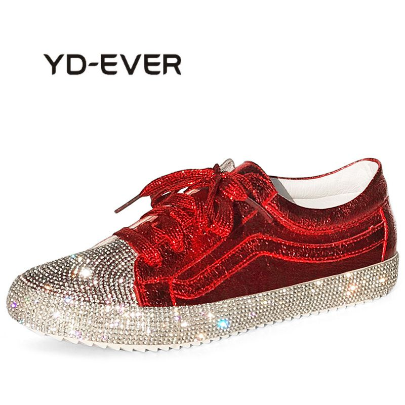 aliexpress.com - YD-EVER 2018 Spring Fashion Lady Shine Shoes Women Sneaker  Rhinestone Silver Girl Crystal Bling Cross-tied Lace Up Glitter Red -  imall.com eefc6b410fd5