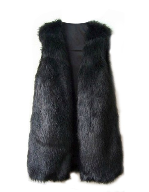 2016 Women Winter Faux Fox Fur Vests Fashion Black Warm Long Sleeveless Vest Jacket Coat With Waistcoat Outwear Hot Sell#3 12