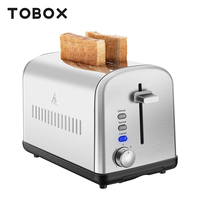 TOBOX 2 Slice Stainless Steel Toaster Breakfast Maker Sandwich Machine 850W 120V Auto Off Cancel Defrost Reheat Toasters Oven
