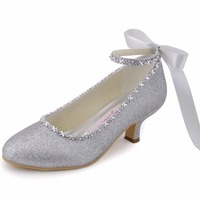 EP31010 Silver Gold Women Shoes Bridal Closed Toe Evening Prom Pumps Ankle Strap Glitter Rhinestone Bride Wedding Party Shoes