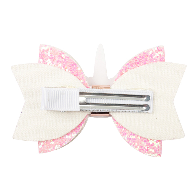 Glitter Unicorn Bow Design Girl's Hair Clip