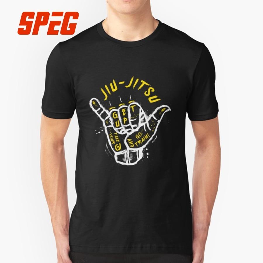 T Shirt Gesture Jiu-Jitsu Go Train Brazilian Jiu Jitsu BJJ Funny Men's 100% Cotton Short Sleeve Tees Popular Judo T-Shirts Men