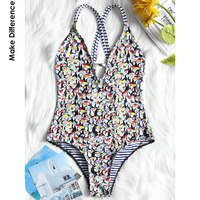 Make Difference Brand Lycra Modern Flamingo Thong One Piece Swimwear 2018 Sexy Striped Swimsuits Black Bodysuits
