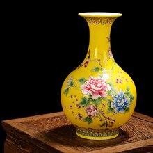 Jingdezhen Modern Ceramic Vase Famille Rose Porcelain Vases With Yellow Glaze Flowers and Birds Pattern Sitting