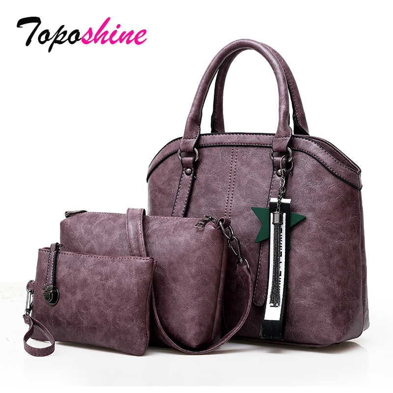 New High-Capacity Bag Female Europe and the United States Fashion Three-Piece Suitcase Simple Casual Shoulder Messenger Bag Tide europe and the united states new fashion cross section zipper tote bag wild pvc with the leather print hand messenger bag