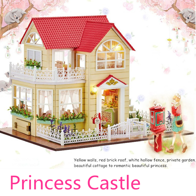 Princess Castle Doll House Furniture DIY Miniature 3D Wooden Miniaturas Dollhouse Toys for Children Birthday Gifts Kitten Diary doll house furniture diy building model wooden miniature dollhouse puzzle toys for children birthday christmas gifts happy coast