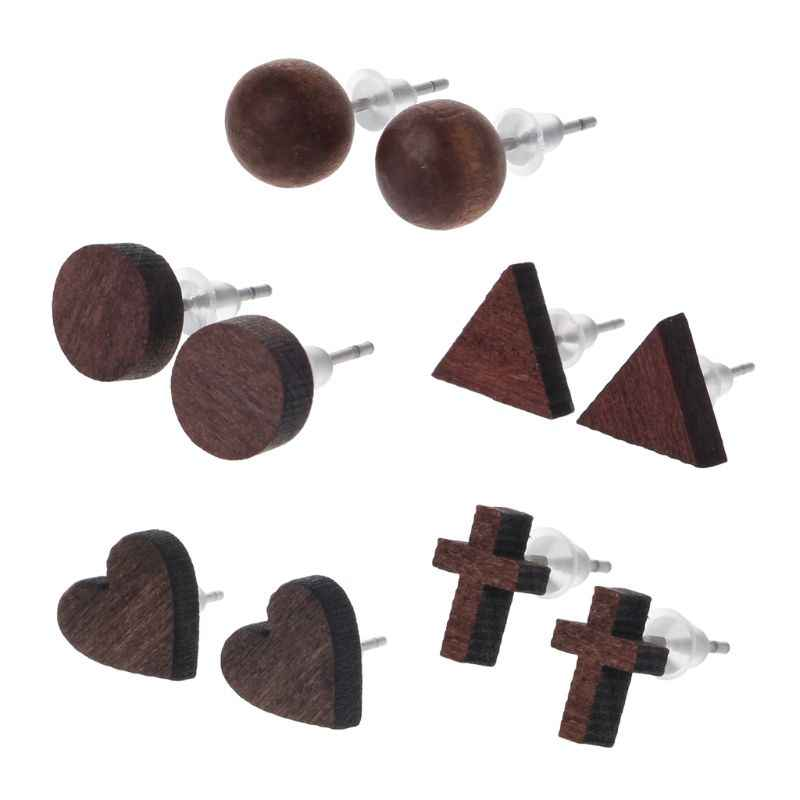 Geometric Round Ball Heart Cross Tiny Natural Wood Stud Earrings Fashion Jewelry