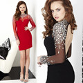 Custom Made Vestido De Festa Curto Red/Black Tulle Shining Crystal Mini Cocktail Dress Short Prom Dress