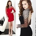 Custom Made Vestido De Festa Curto Red/Black Tulle Shining Crystal Mini Cocktail Dress Short Prom Dress