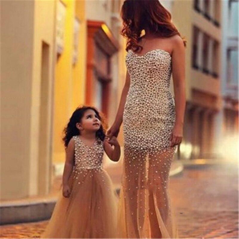 e66a6a0e0e2 New Fashion Mermaid Heavy Full Pearls Sexy Evening Dress Custom Long ...