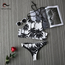 Tengweng Summer Women Palm Tree Bikinis Set Women Padded Crop Top Push Up Tankini Brazilian Plus