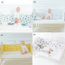 1pcs Anti-collision Baby Bed Fence Crib Bumper Thicken Crib Around Cushion Baby Bed Cot Protector Newborns Bedroom Supplies 4pcs include 1pcs big crown shape crib headrest cushion 1pcs long side mesh bumper 1pcs end cotton bed bumper 1pcs bed sheet
