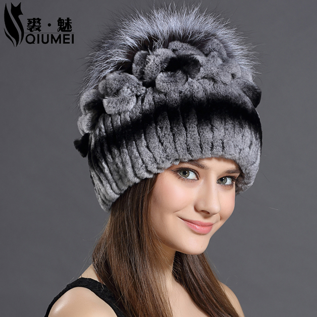 cdb576259b50ec Knitted Hats 2016 Winter Rabbit Fur Beanies Headgear For Women With Fox Fur  Luxury Ball Flower